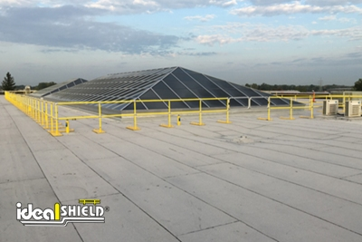Hundreds of feet of Ideal Shield's Roof Fall Protection Railing