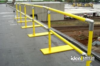 Ideal Shield's Roof Fall Protection Railing with footings