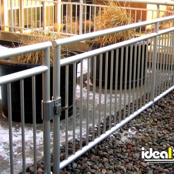 Clear Anodized Aluminum Roof Rail with Gate and Buried Base Plates