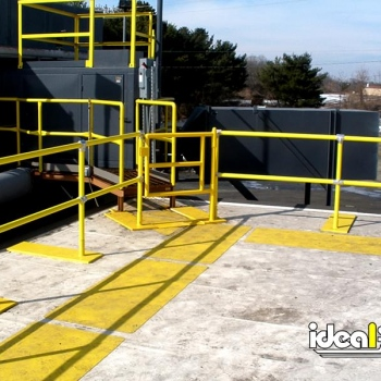 Ideal Shield's Roof Edge Fall Protection Railing with footings and gated entry