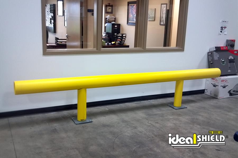 Ideal Shield's One Line Warehouse Guardrail with base plates
