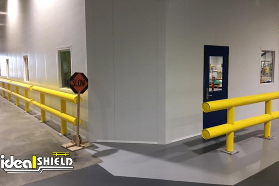 Ideal Shield's Two-Line Standard Guardrail lining interior facility walls