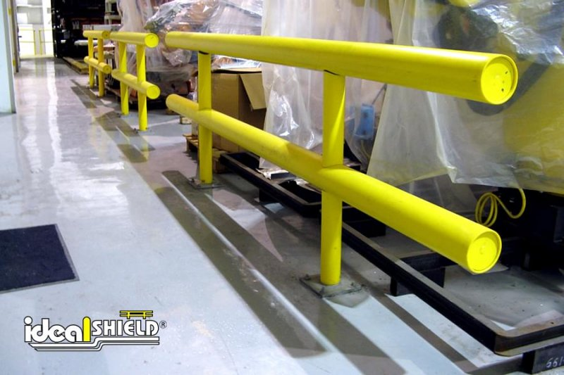 Ideal Shield's Two Line Warehouse Guardrail protecting machinery inventory