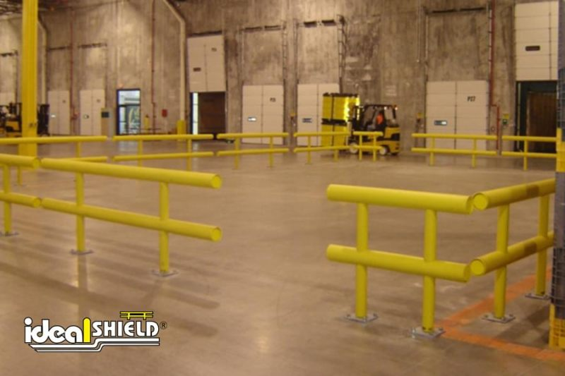 Ideal Shield's Two-Line Standard Warehouse Guardrail used to enclose shipping and receiving area