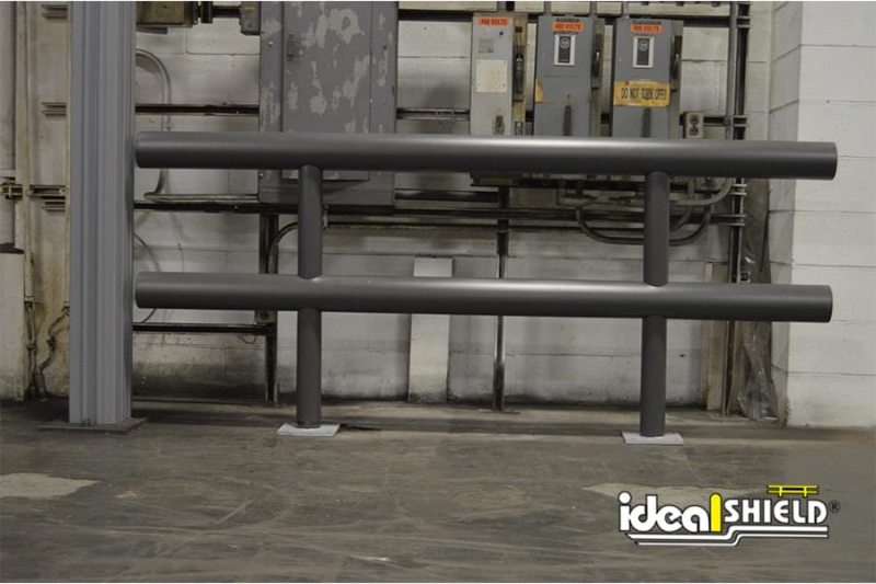 Ideal Shield's Gray Two Line Standard Warehouse Guardrail with base plates