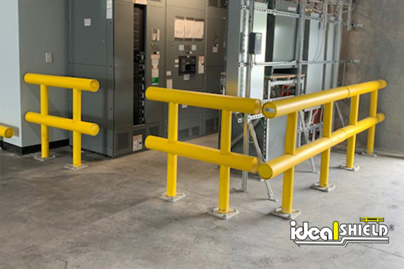 Ideal Shield's Two-Line Standard Guardrails used to create a protection fence around electrical equipment