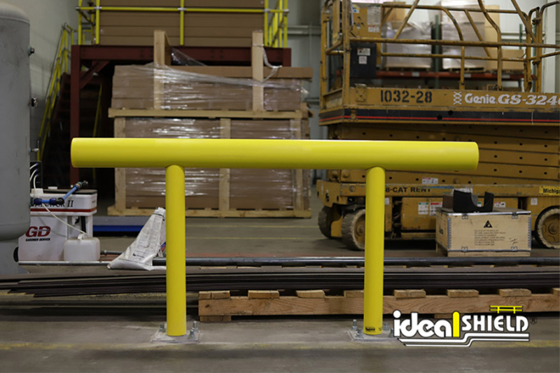 Ideal Shield's One-Line Standard Guardrail used for warehouse storage guarding