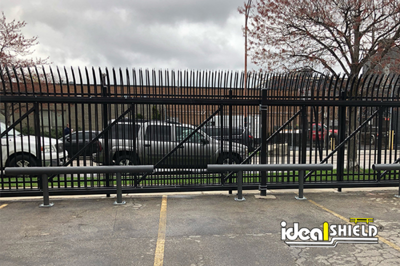 Ideal Shield's One Line Standard Guardrail used for parking lot fence protection