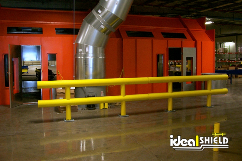 Ideal Shield's Two-Line Standard Guardrail guarding critical machinery
