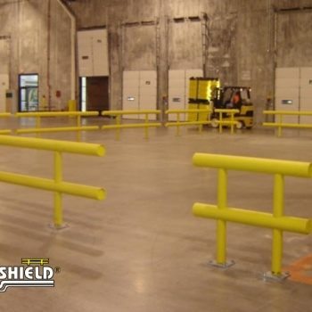 Warehouse Employee Break Area Enclosed By Two Line Guardrail