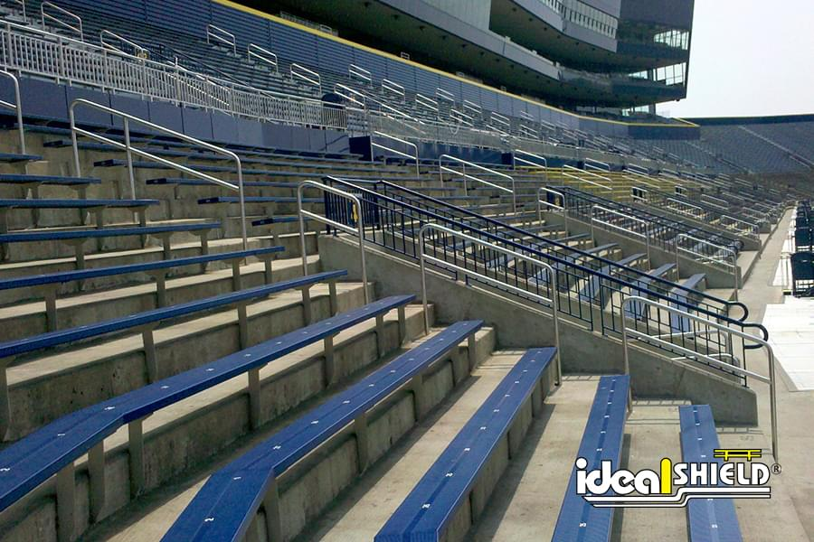 Football Stadium With Steel Handrail Assistance For Seating
