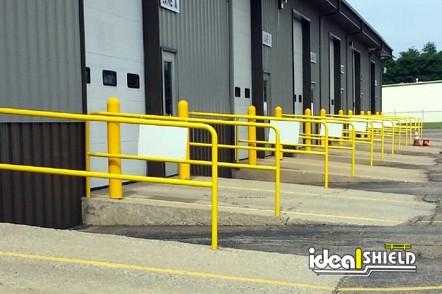 Ideal Shield's Painted Steel Handrail used as Dock Door Guides