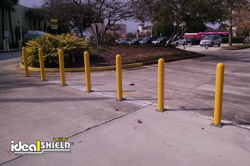 Ideal Shield's Steel Pipe Bollards With Yellow Bollard Cover
