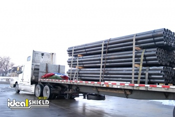 Steel Pipe Bollards Loaded Onto Truck For Shipping