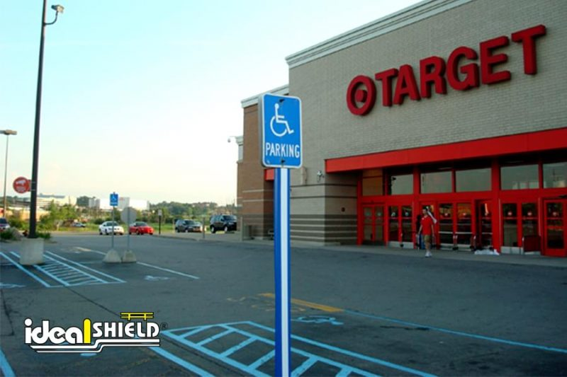 Ideal Shield's Blue U-Channel covers traffic sign post at Target