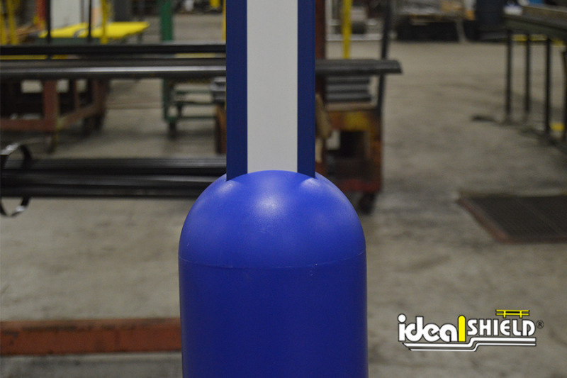 Ideal Shield's Blue U-Channel Covers perfectly fit into a Bollard Sign System
