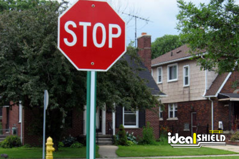 Ideal Shield's Green U-Channel on a stop sign