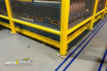Ideal Shield's Safety Wall Guard System corner with infill and base plate