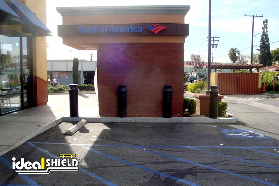 "Ideal Shield's 10"" Pawn Bollard Covers used for ATM protection"