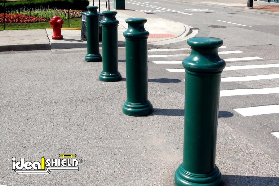 "Ideal Shield's 10"" Pawn Bollard Covers used as Temporary Event Crowd Control"