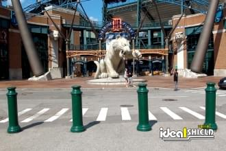 "Ideal Shield's 10"" Pawn Bollard Covers used for crowd protection at Comerica Park in Detroit, Michigan"