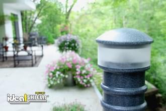 Grey Hard Wired Lighted Bollard Cover Garden