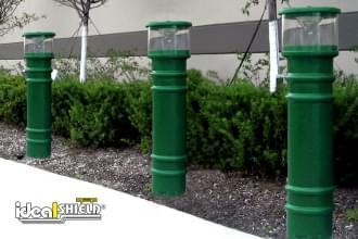 Custom Green UV Lighted Bollard Cover Garden Path