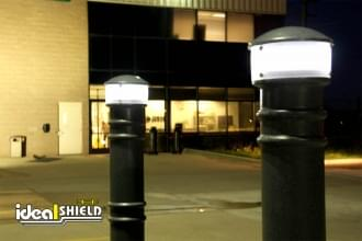 Black Hard Wired Lighted Bollard Cover Night Time Safety