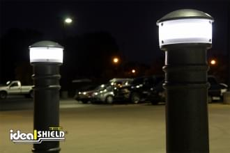 Black Hard Wired Lighted Bollard Cover Night Time Parking Lot Protection
