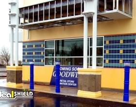 Ideal Shield's UV Lighted Bollard Covers used for storefront protection and lighting