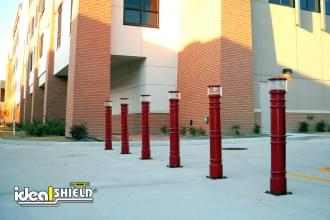 Red UV Lighted Bollard Cover Parking Lot Section