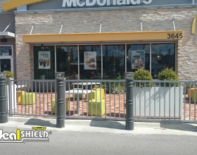 Ideal Shield's Lighted Bollard Covers in front of McDonald's