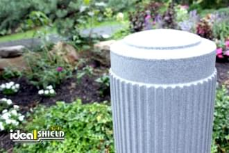 "Ideal Shield's Light Granite 10"" Ribbed Decorative Bollard Covers"