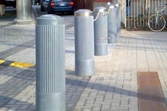 Grey 10 Inch Ribbed Decorative Bollard Cover Sidewalk Protection