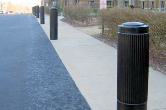 "Ideal Shield's Black 10"" Ribbed Decorative Bollard Covers"