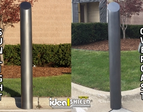 "Comparison of Ideal Shield's 6"" Metallic Black Decorative Bollard Cover in the sunlight and in overcast"