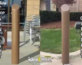 "Comparison of Ideal Shield's 6"" Metallic Bronze Decorative Bollard Cover in the sunlight and in overcast"