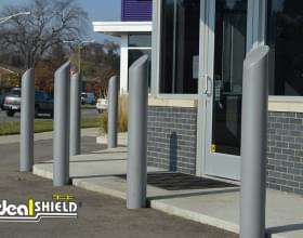 "Ideal Shield's 6"" Skyline Decorative Bollard Covers used for storefront protection"