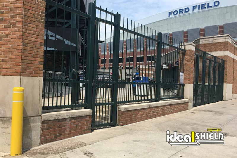 Ideal Shield's Yellow Flat Top Bollard Cover with Reflective Tape at Comerica Park