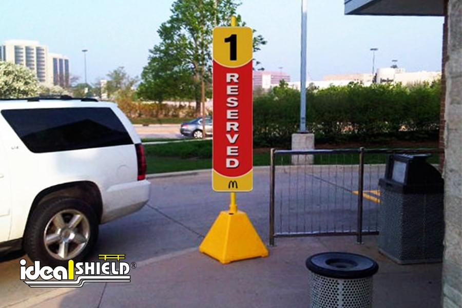 Ideal Shield's Pyramid Sign Bases used for McDonald's Drive Thru Reserved Sign