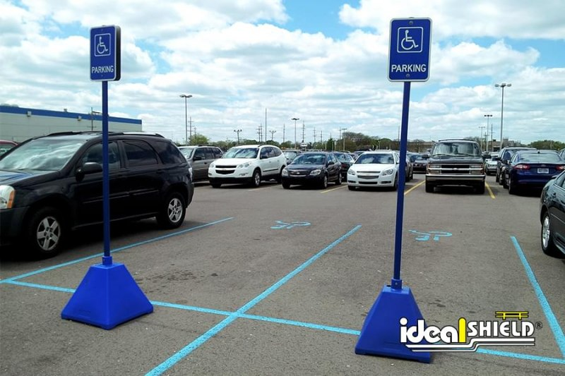 Ideal Shield's blue portable Pyramid Sign Bases