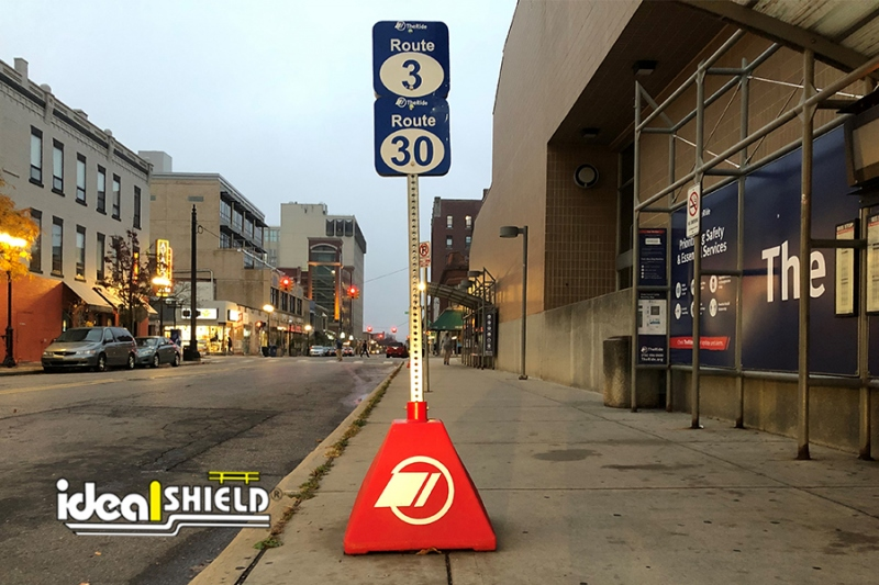 Ideal Shield's Transit Pickup Sign Base in Ann Arbor Michigan