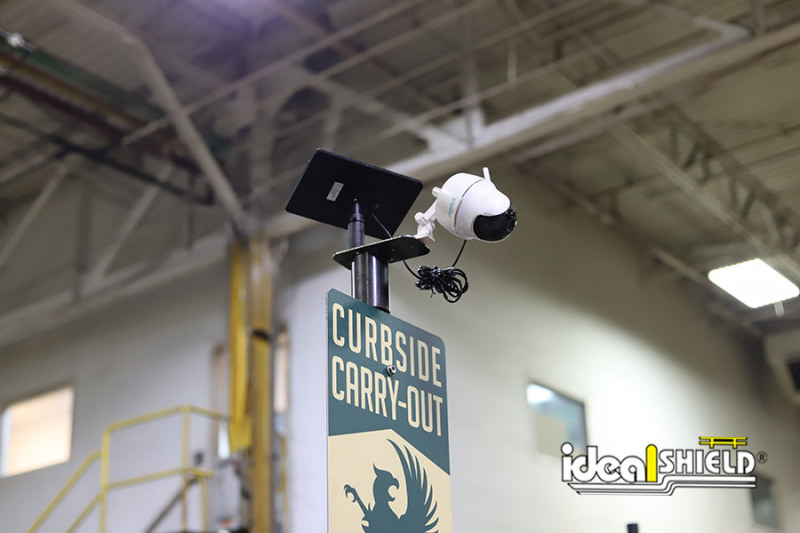 Ideal Shield's Sign System with wireless camera for curbside pickup and parking lot needs.