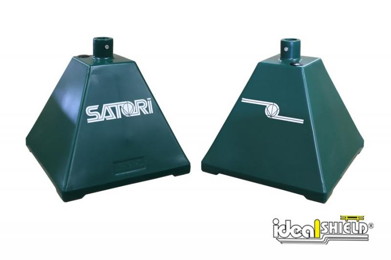 Ideal Shield's Hunter Green Pyramid Sign Base with Custom Decal for Satori Dispensary