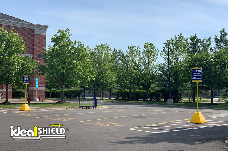 Ideal Shield's Yellow Sign Bases used for Lowe's Pro Parking