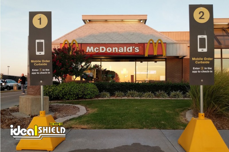 Ideal Shield's Curbside Pickup Sign Bases at McDonald's