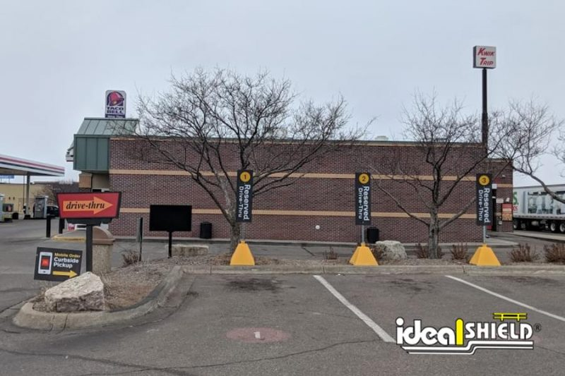 Ideal Shield's Pyramid Sign Bases used for reserved parking spots at McDonald's