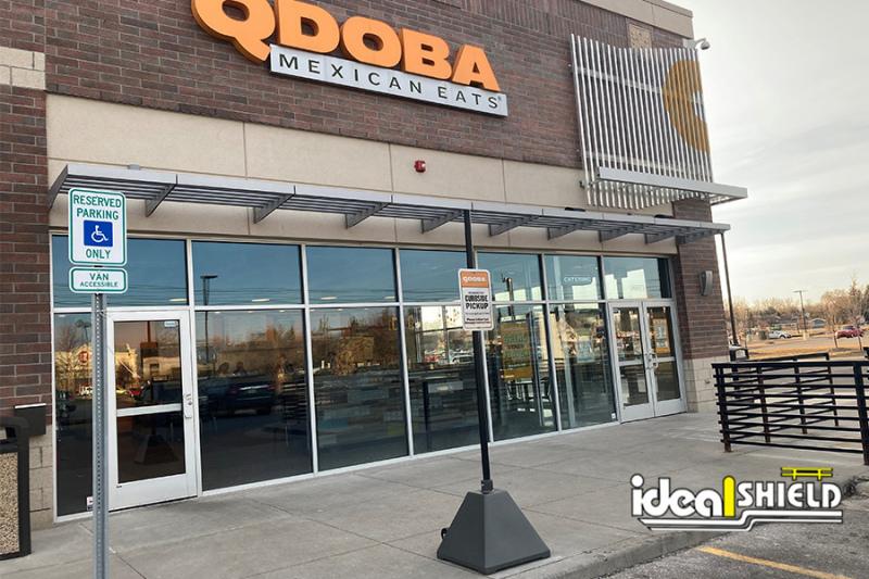 Qdoba Curbside Pickup Gray Sign Base