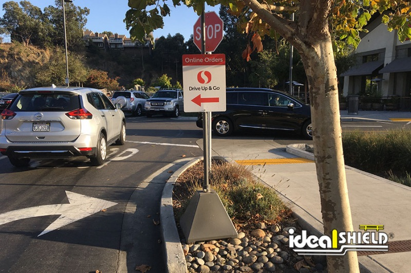 Ideal Shield's Gray Pyramid Sign Bases for Traffic Directions at SafeWay Parking