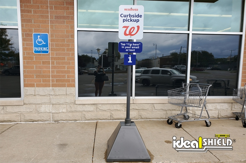Ideal Shield's Walgreens Curbside Pickup Sign Base